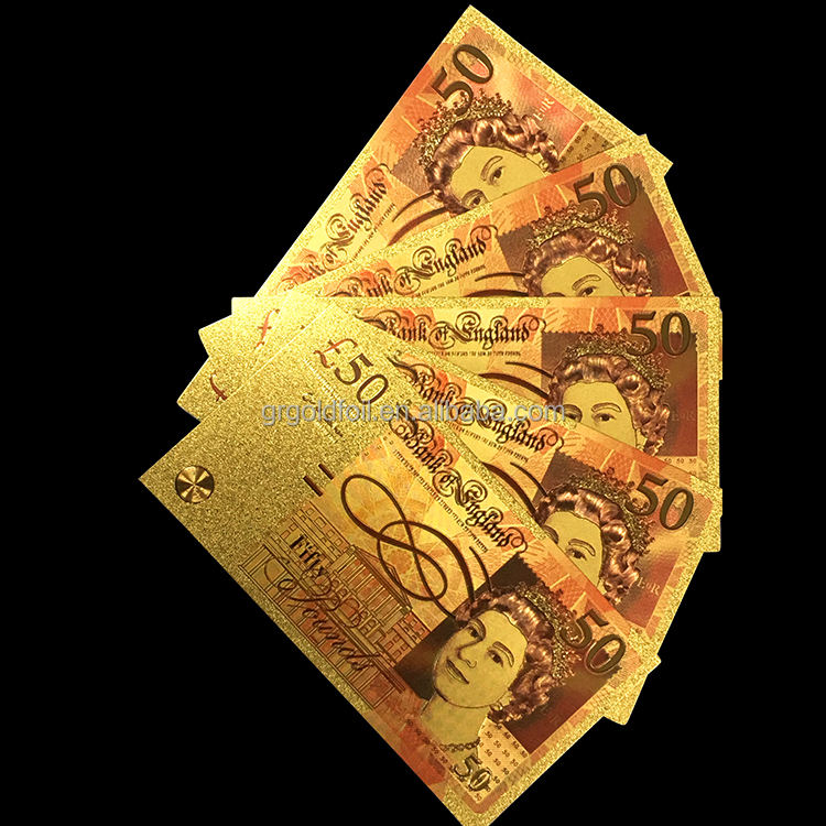 Factory price high quality pound 50 craft 24k gold foil banknote