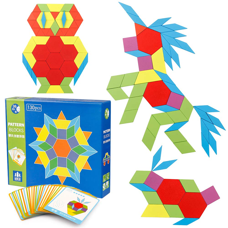 Multifunctional Creative Shape Puzzle Montessori Toy 3D Wooden Craft Tangram Puzzle