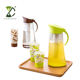 2L Transparent Elegant Plastic Water Juice Jug With Ice Cooling Tube Insert And Cups