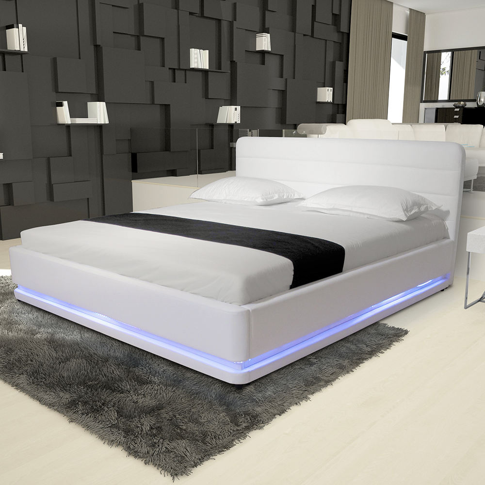 Modern PU Leather bedroom furniture frame beds RGB led light beds