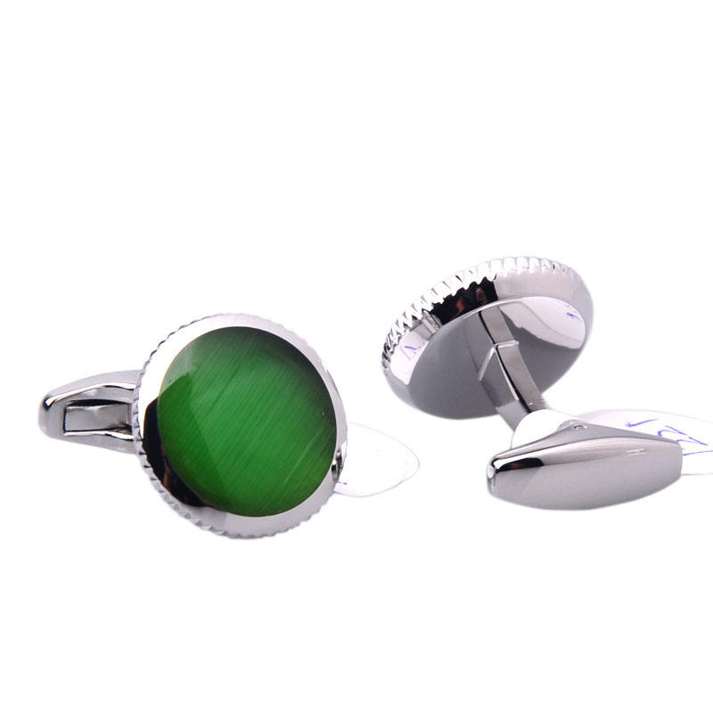 Natural Green Stone Cufflinks in Round Shape with Silver Closure Base
