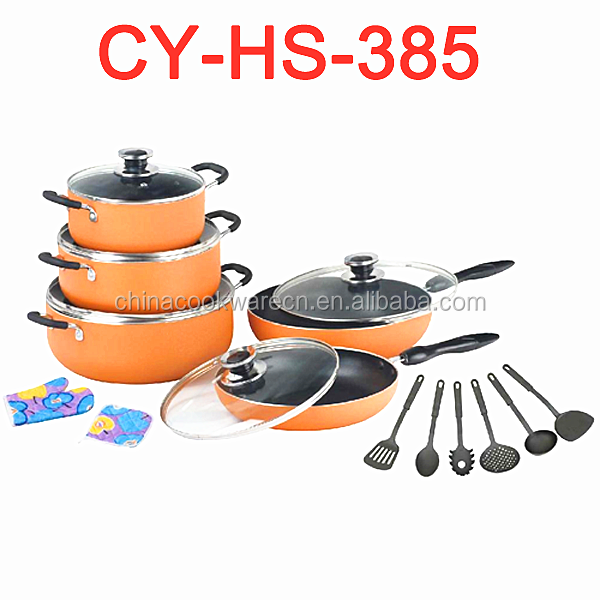 New top popular aluminum cooking sets widely use made in china non-stick casserole and frying pan