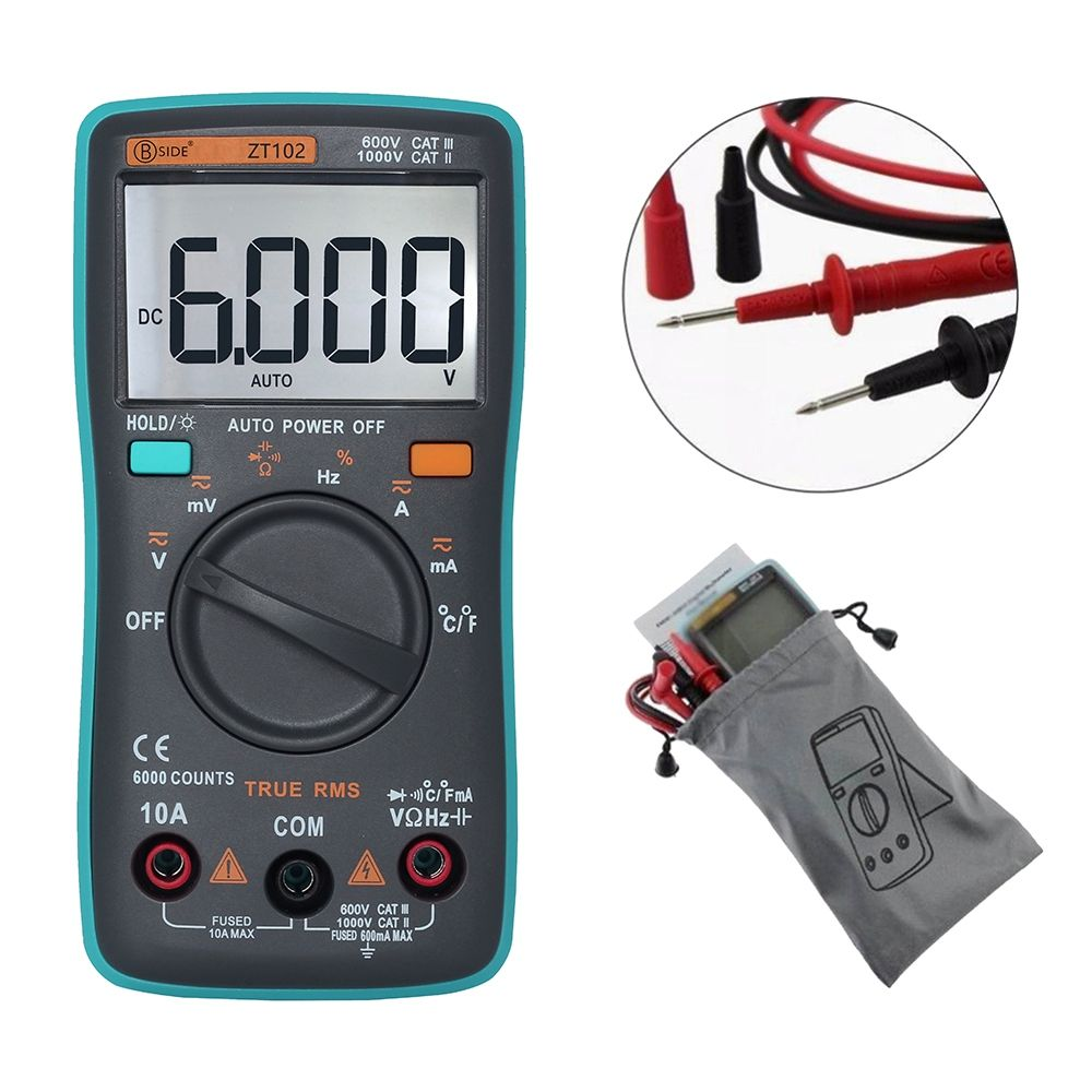 New ZT102 Handheld Digital Multimeter 6000 Counts Backlight AC/DC Ammeter Voltmeter Meter