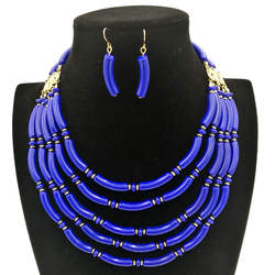 Bohemian African Women Fashion Handmade Beads Multilayer Collarbone Party Jewelry Sets