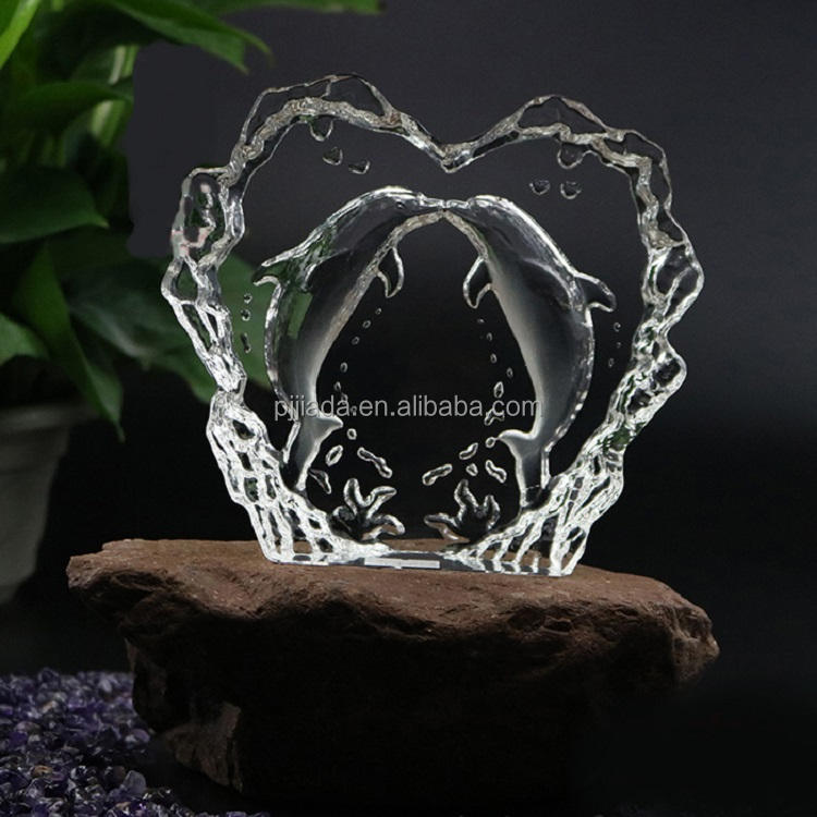 wholesale clear 3d laser dolphin image glass crystal iceberg