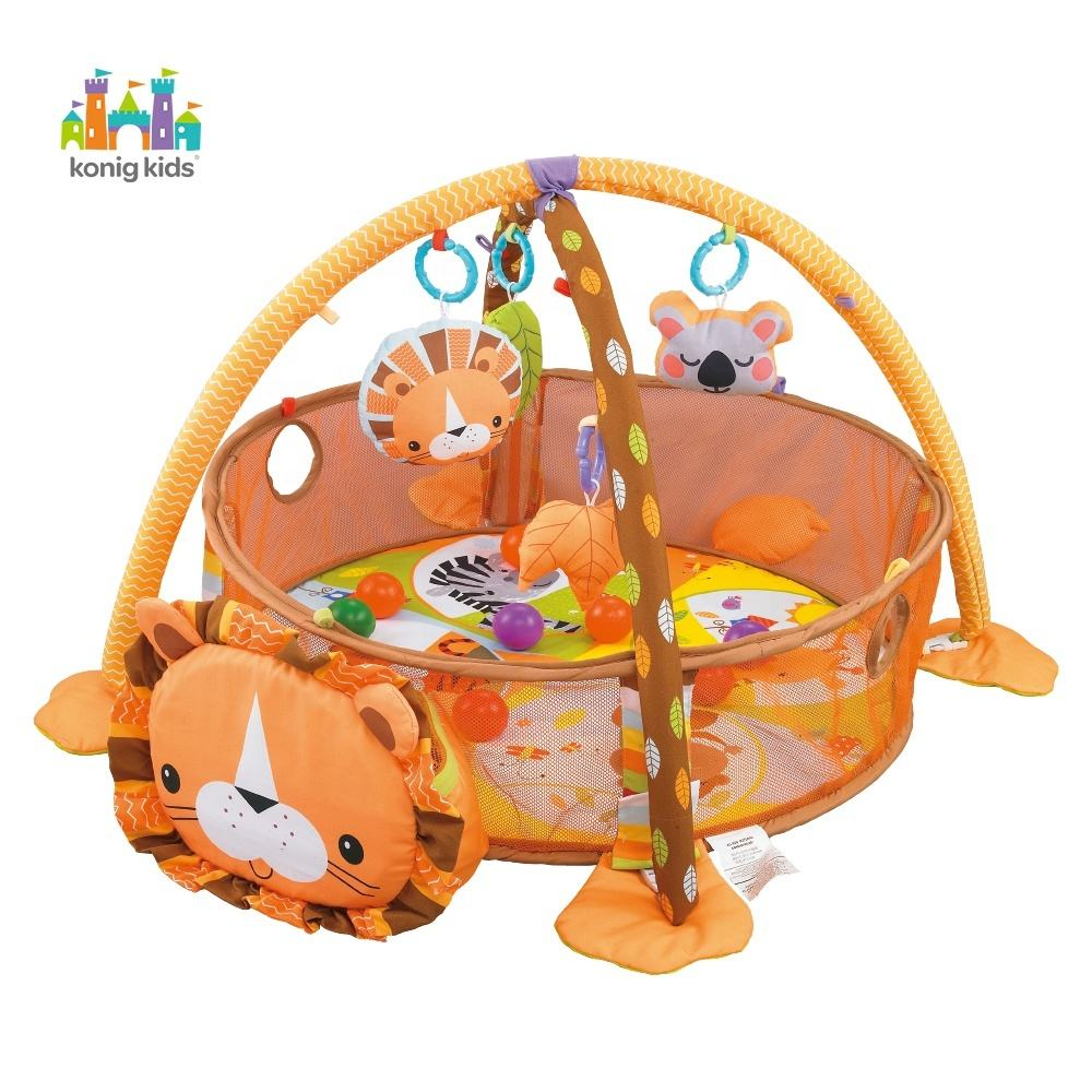 Konig Kids 3 IN 1 Animal Lion Colorful Toddler Baby Toys Activity Folding Play Gym With Balls