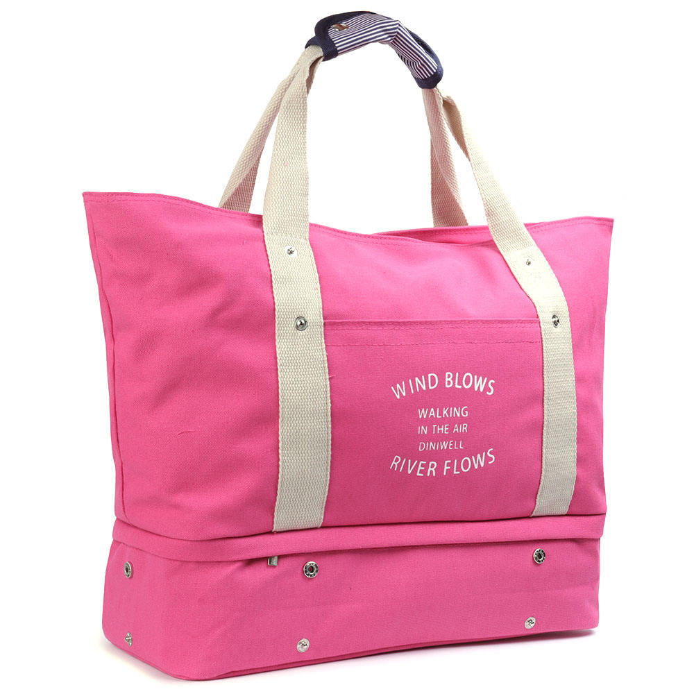 SGA00077 HDWISS Waterproof Canvas Cotton Travel Duffel Bag with Shoe Compartment