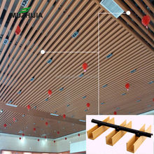 Modern design wpc timber strip false wood ceiling panels for suspended ceiling and engineeredCeilingProject