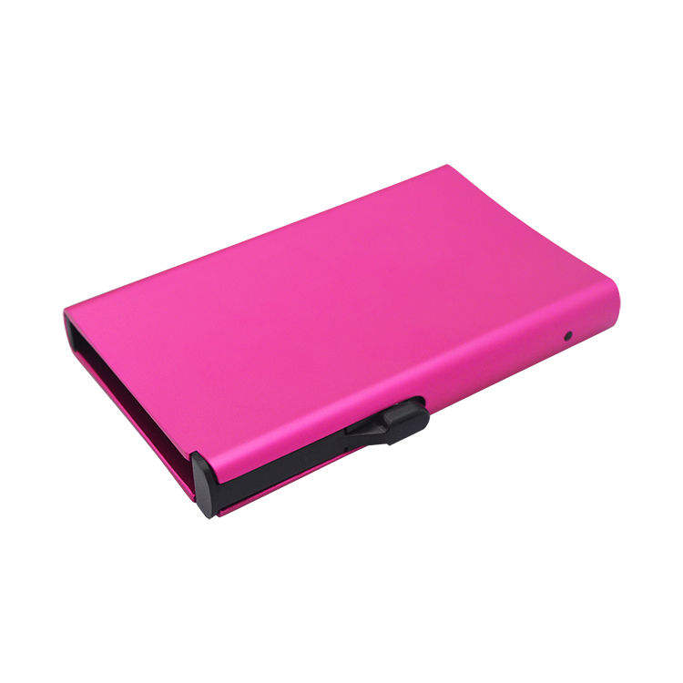 Blocking automatic pocket aluminum slide pop up card holder wallet security anti scan slide card holder pop up rfid