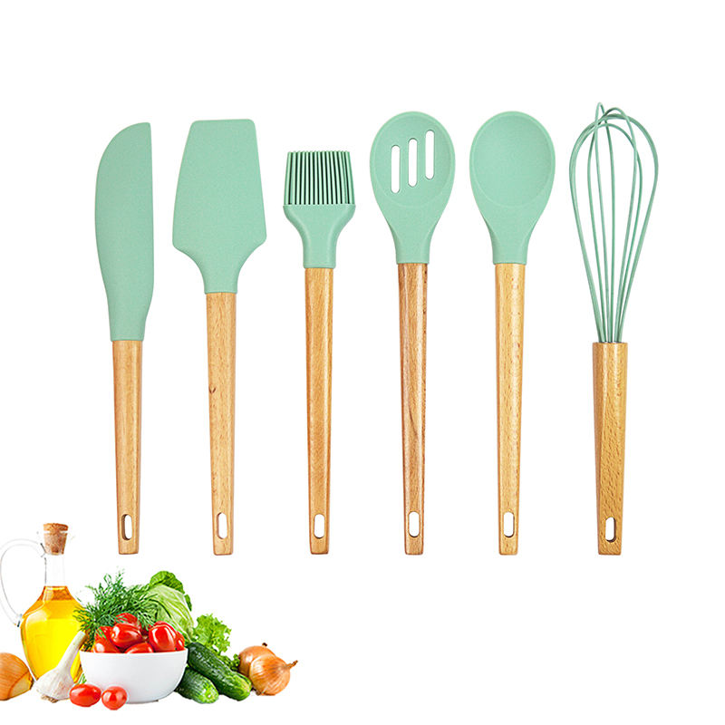 China Factory Custom Wholesale Kitchen Baking Set Silicone Spatula With Wooden Handle