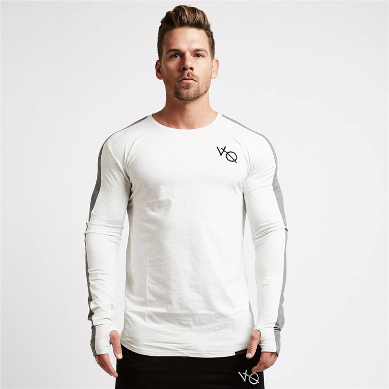Wholesale Customized Fitness long-sleeved 100% cotton sweater Slim Sweatshirt for men