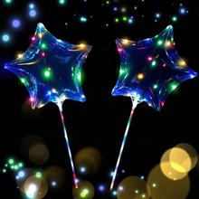18inch LED Light Up Balloons Star Shaped Clear Bobo Balloons with LED String Lights for Birthday Wedding Party Decor