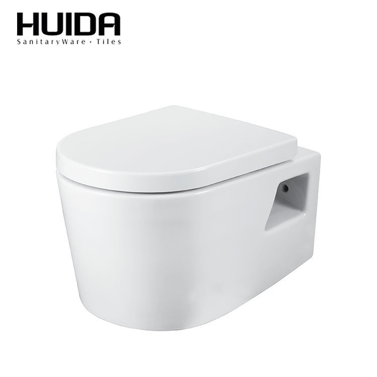 HUIDA high quality Bathroom ceramic p-trap 180mm roughing-in wall hung toilet from china supplier