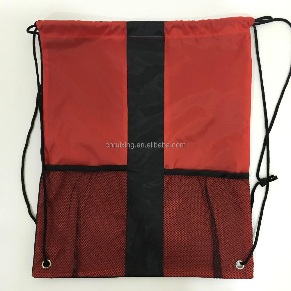 custom logo promotion 210D nylon drawstring bag with mesh pocket
