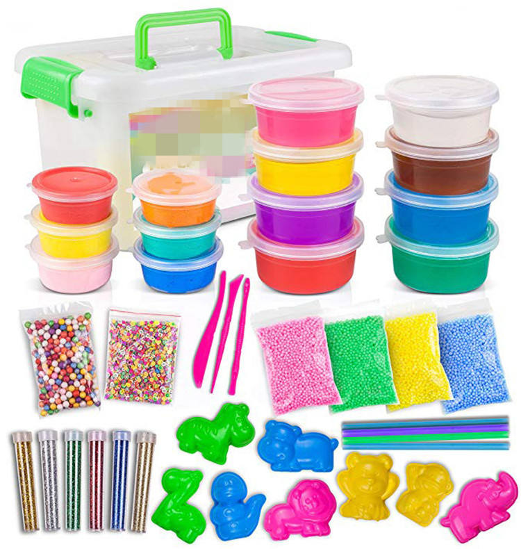 DIY Crystal Slime Supplies Slime Making Kit Comes with 14 Colors Slime 6 Pack Colorful Foam Balls 6 Glitter Shake Jars For Kids