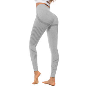 High quality knitted gym shark fitness sport women wear leggings quick dry seamless training pants