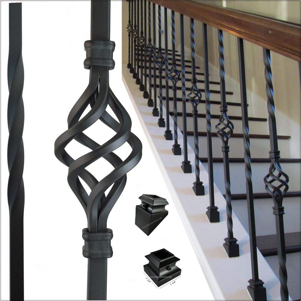 Custom Color And Size Of High Hardness Interior Wrought Iron Stair Railings