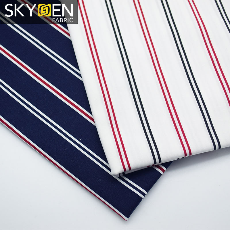 Skygen plain weave korea fabric 97% cotton 3% lycra, soft striped elastane lycra fabric with good price