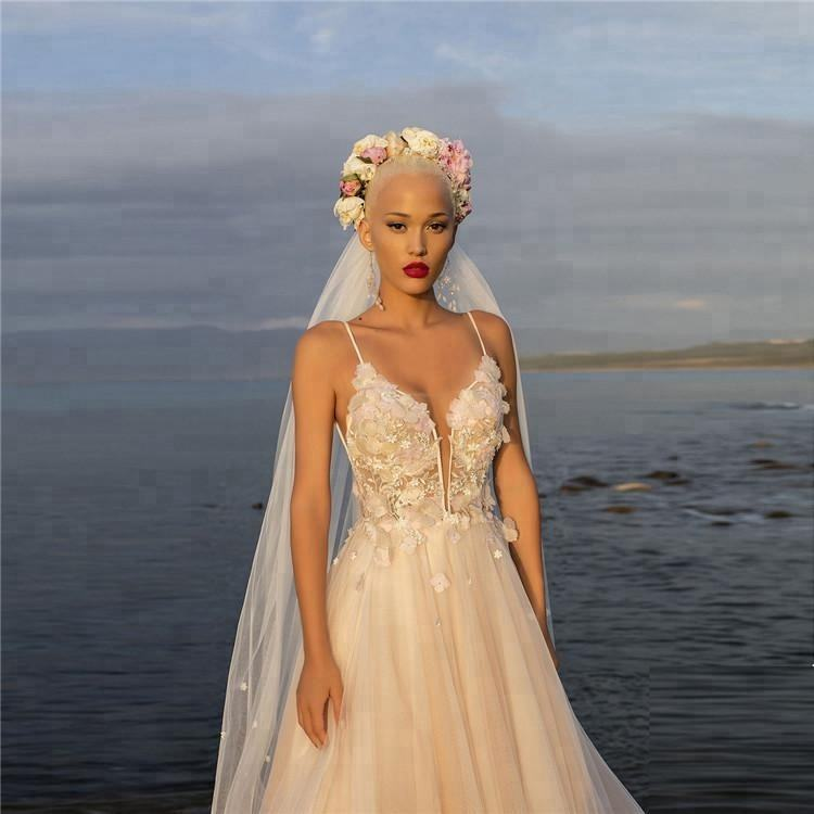 Beach Wedding Dresses Floral Spaghetti Illusion Sexy Boho Wedding Gowns Beading Backless Bohemian Bride With Cape