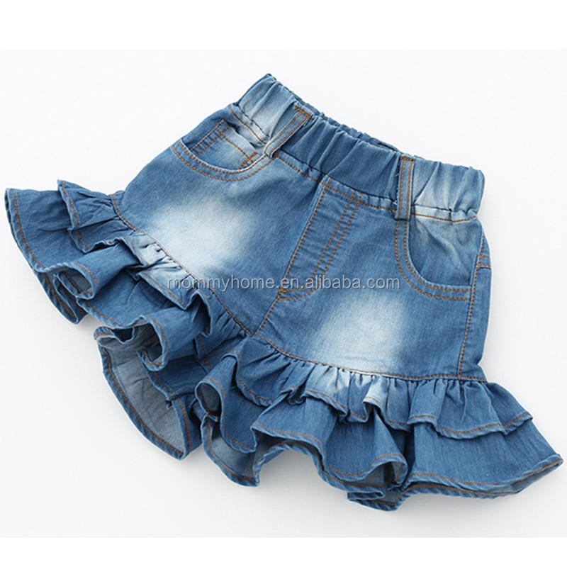 Girls shorts jeans summer kid clothing ruffle baby girls denim shorts M90256