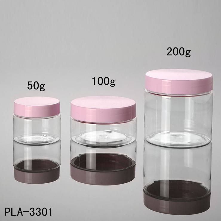 plastic pet jar 200g straight round clear jar matte pink cap wide mouth powder cosmetic cream jar