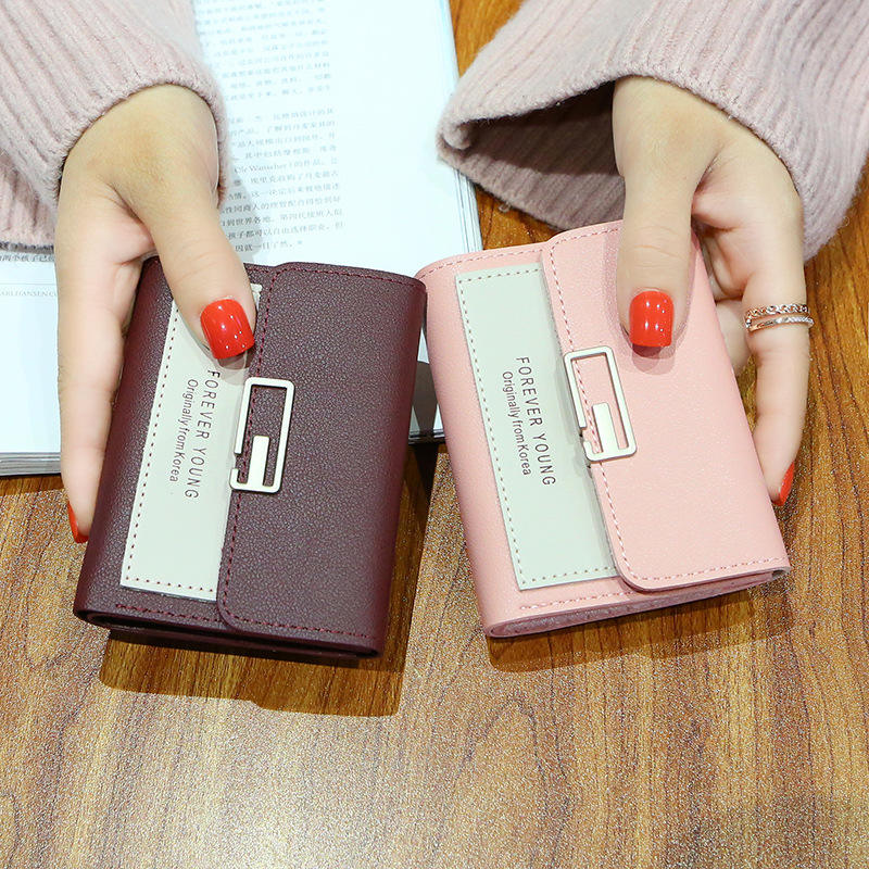 Multicolor Wallet with Multi-card Seat and Short Zipper Lady's Wallet Litchi-pattern female purse with three-fold