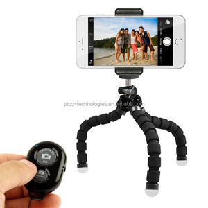 foldable Universal portable flexible mini tripod for smartphone with phone clip holder and bluetooth remote control shutter