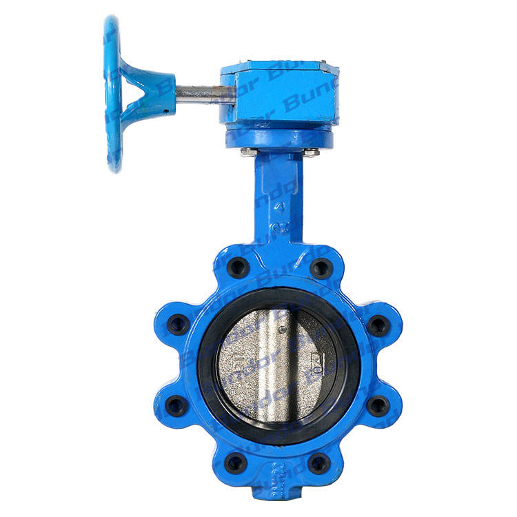 Bundor 1.0-1.6Mpa cast steel DN50-250 worm gear operated LT wafer butterfly valve price
