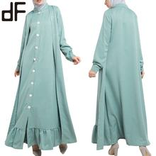 OEM Women's Modest Clothing Khimar And Jilbab Butik Vestidos Mujer Long Buttoned Front Maxi Dress Long Sleeve Muslim Dress Abaya