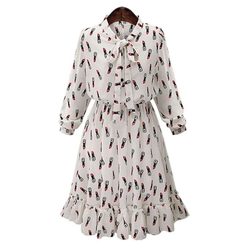 YALI Printed Lipstick Elegant European And American Chiffon Dress