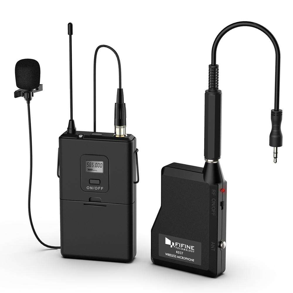 Fifine 20-Channel UHF Cordless Lavalier Collar Microphone With Portable Receiver for Live Performance K037