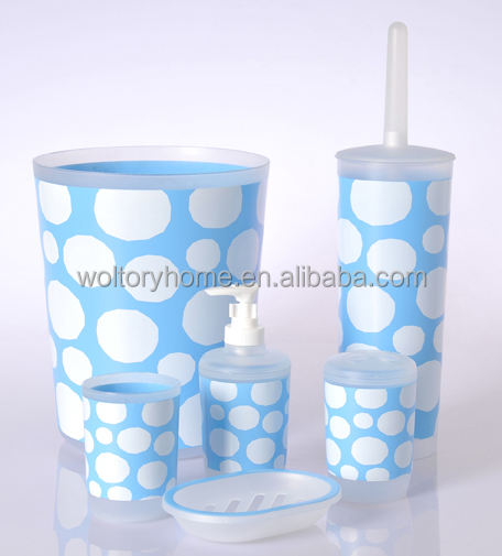 6PC Bath set including Tumbler/soap dish/Lotion bottle/Trash can/Tissue box/Toilet brush holder