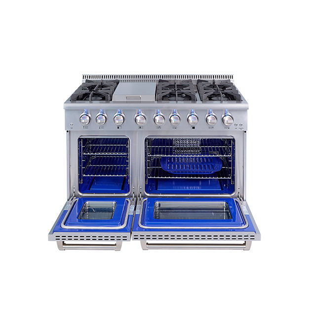Dual oven freestanding 48 inch commercial electric gas stove with griddle