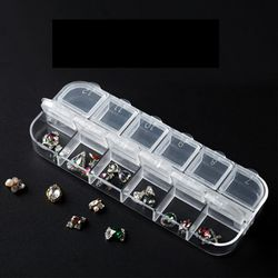 Nail Art Tool Jewelry Storage Box, 12 Grids Compartments Plastic Rhinestone Organizer Container Case, Display Containers