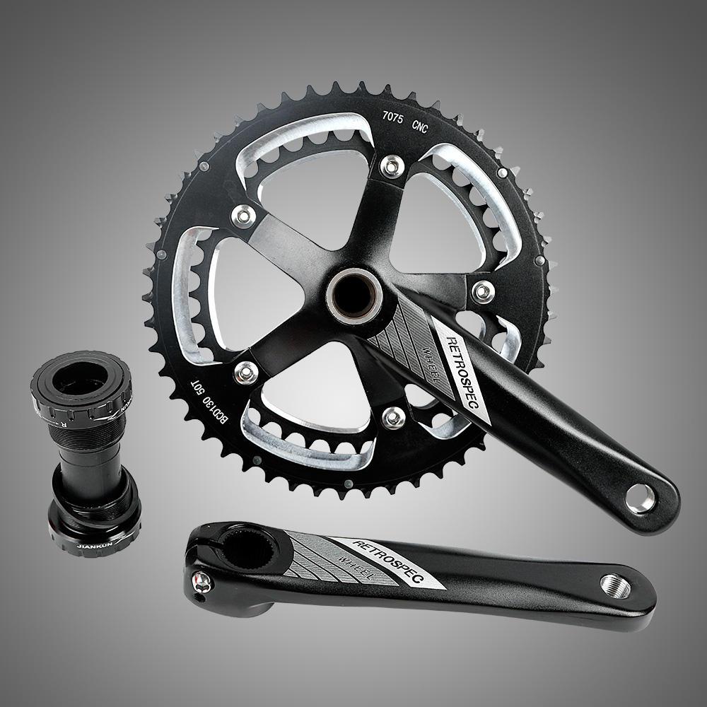 Celtics Bicycle Crank 104 BCD CNC Untralight Bike Crankse MTB//Road Bicycle Crankset With Bottom Bracket Black color 1 set
