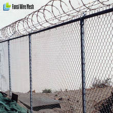 hot dip galvanized top barbed wire chain link fence diamond wire mesh
