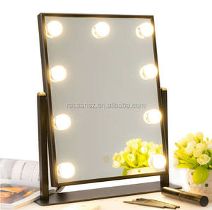 Newest hollywood lighted makeup mirror with led lights bulb mirror for beauty salon mirror station