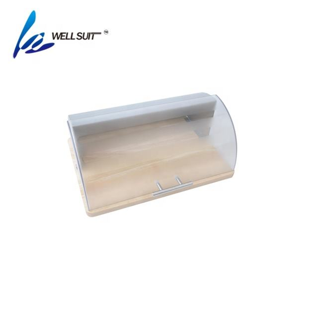 Creative home kitchen stainless steel wooden bread box metal bread bin