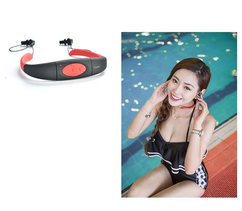 Ipx8 waterproof 8gb portable wireless headphones with built-in mp3 player music without sd memory card, mini mp3 player battery