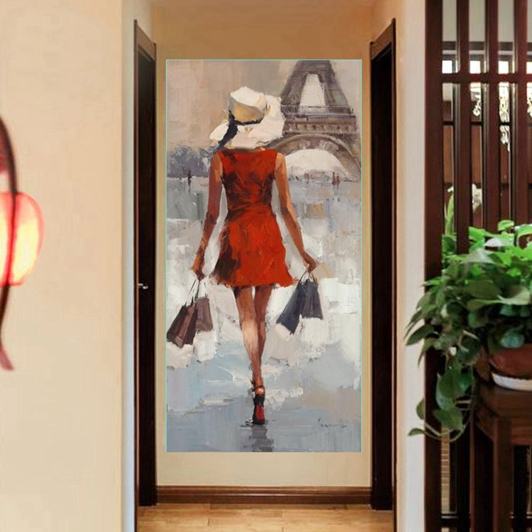 Modern Girl in Red Dress Fashion Portrait Artwork 3D Handmade Oil Painting for Porch Hallway Office Home Decor Drop Shipping