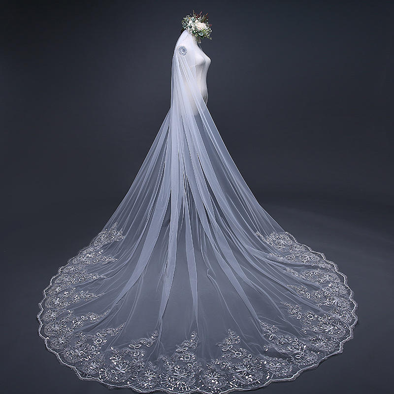 2020 Hot Sell Latest Long Tulle Wedding Bridal Veil Lace Wedding Veil