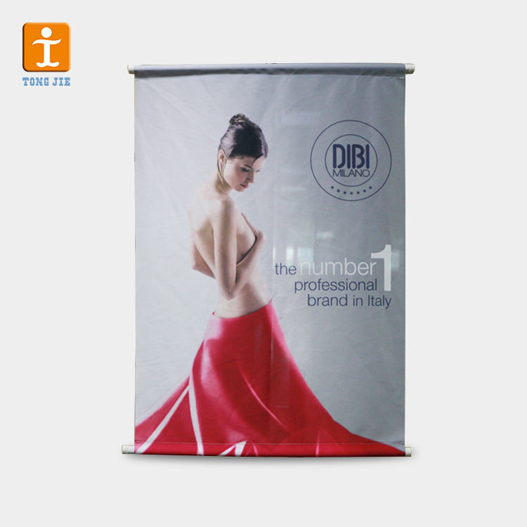 Marke Exhibit Custom Design Verwendet Thermosublimationsdruck Hängen Stoff Scrolling Banner
