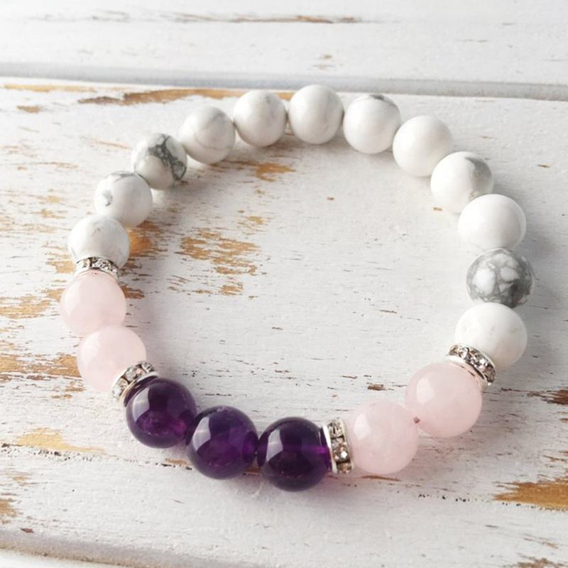 SN1612 8mm Rose Quartz Howlite And Amethysts Bracelet Healing Stone Jewelry Women Natural Stone Beaded Wrist