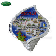 wholesale Italy souvenir sicilia ETNA 3d souvenir resin map fridge magnet