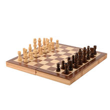 "15"" Wooden magnetic felted chess game set, wooden chess, wooden chess set board game interior storage chess"