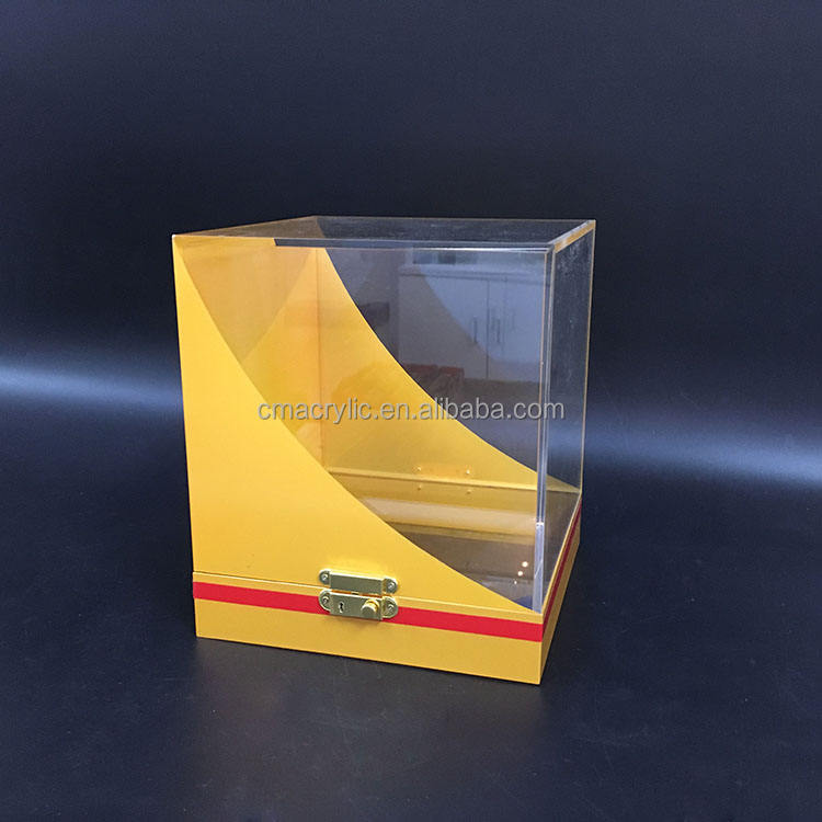 Cube Large Clear Acrylic Display Box with Lock For Cultural Relics Collection Showcase Ball