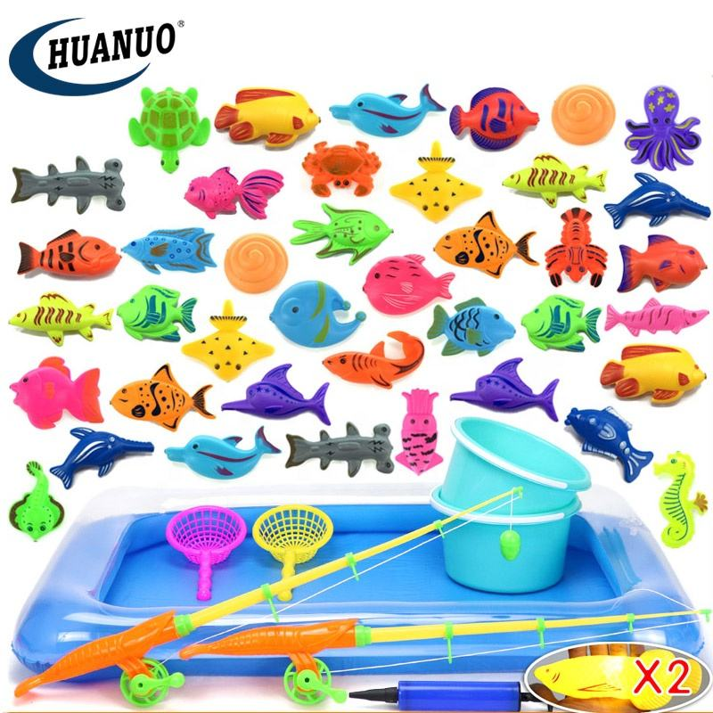 retractable fishing rod sea animal magnetic fishing game with inflatable pool