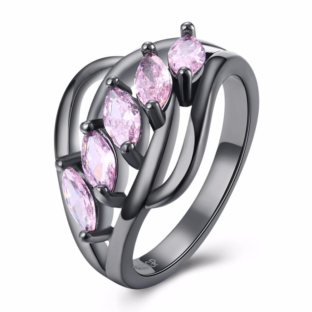 Cherryn Gold-color Big Pink Murano Ring cz engagement ring amazon fashion rings