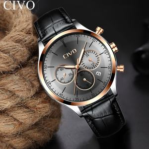 hot Relogio Masculino CIVO style fashion all black cool men's watch no numbers date wristWatches Gents Genuine Leather Clock