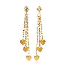 28067 High quality fashion 18k gold color leaves tassel long hanging earring
